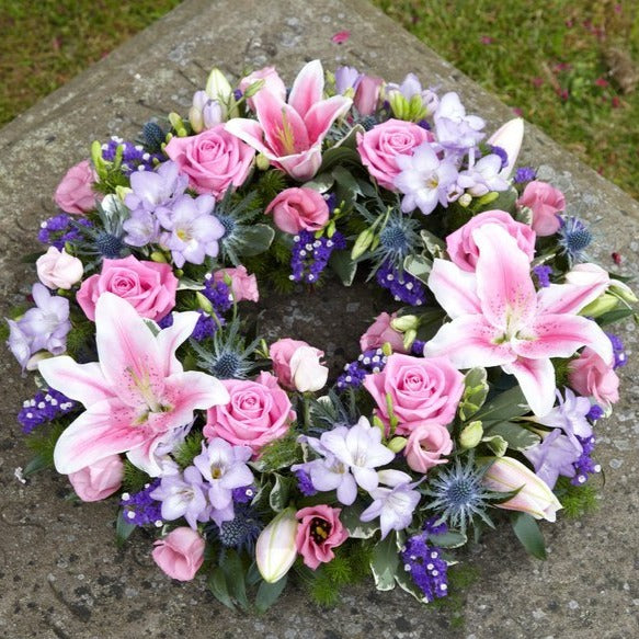 Bradley - Pink Oriental Lily, Roses & Lilac Flower Posy.
