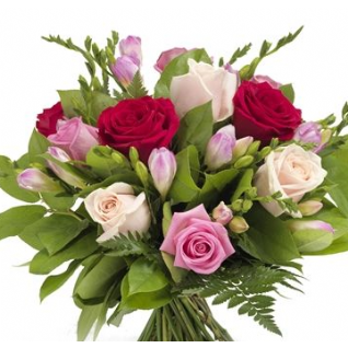 Sarah - White Pink Red Roses and Freesia.
