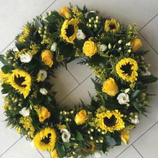 Funeral Wreath Sunflowers & Roses.