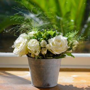 Thyne - Zinc Bucket of White Roses & Freesia.
