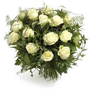 Tytherley - Eighteen White Roses & seasonal foliages.