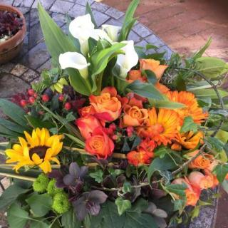 Britt - Orange, Green & Bronze Country Posy.