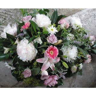 White Peony, Roses, Gemini Spray with herbs and garden foliages.