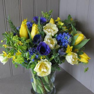 Alresford - Yellow Blue Bouquet -  Local  Delivery - Mills in Bloom