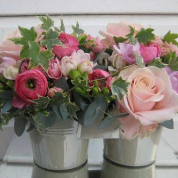 Cary - Zinc Bucket of Pink Flowers.