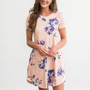 Casual Floral Short Sleeve Dress with Pockets
