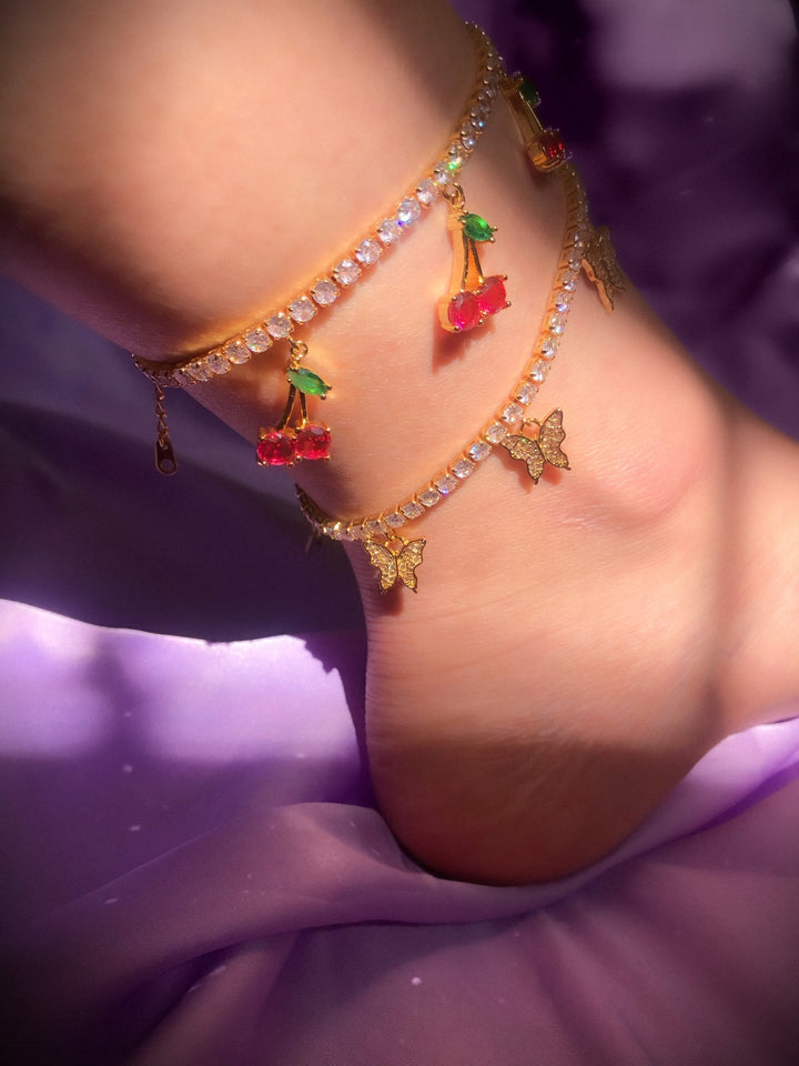 Gold Cherry Anklet