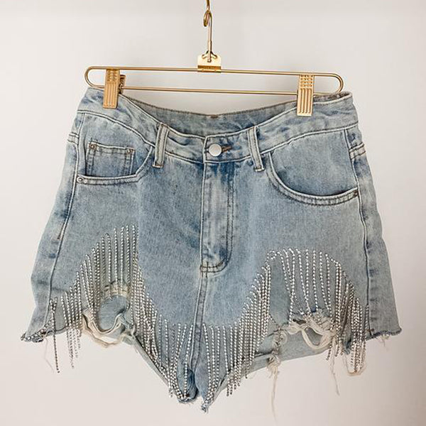 FRINGE HIGH WAISTED DENIM SHORTS