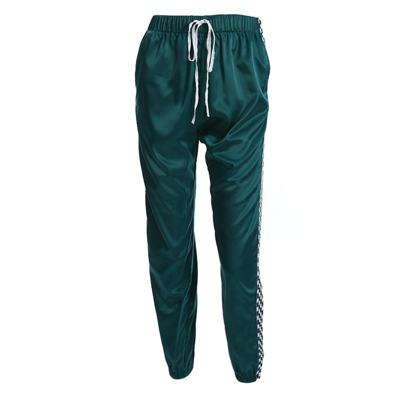 'Jadette' high waist satin sweatpants