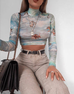 ANGELS LONG-SLEEVED CROP TOP