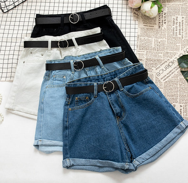 Denim Shorts High Waist Plus Belt