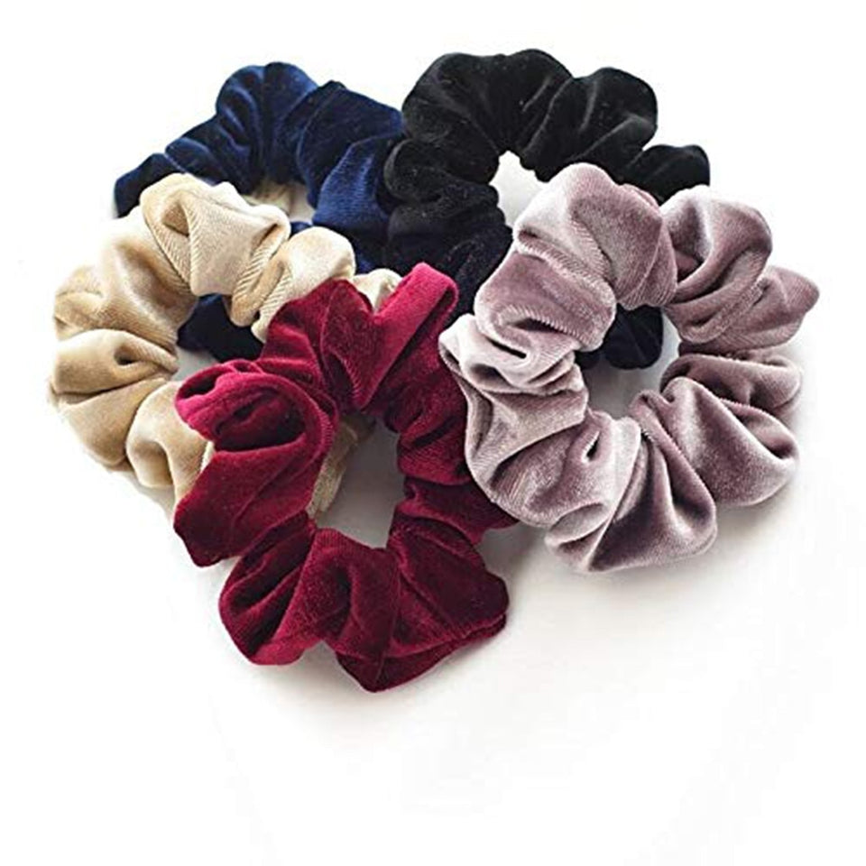 40 pack of velvet feel scrunchies
