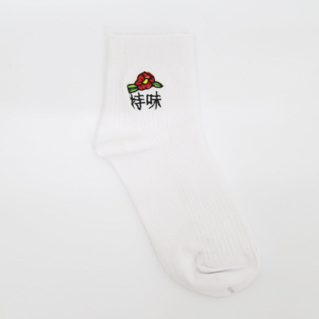Embroidered crew socks