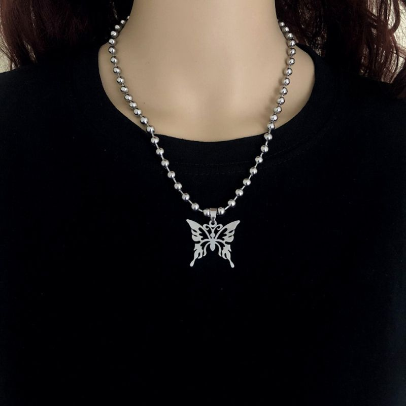 Butterfly ball chain necklace