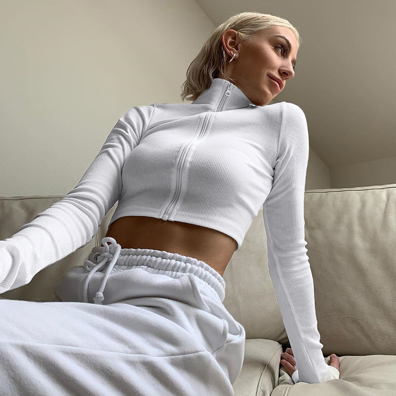 Long Sleeve Stretch Crop Top