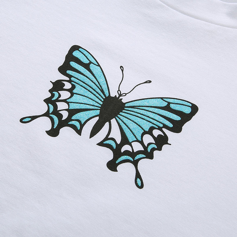 """Blue Butterfly"" Crop Top"
