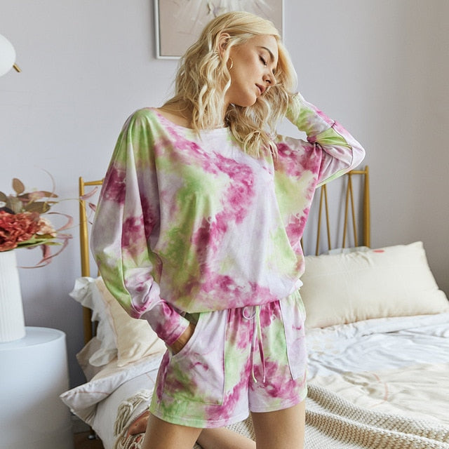 2020 Summer Tie-Dye Loose-Fit Three Quarter Casual Shirt Shorts Set