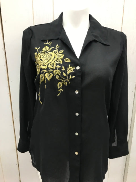 Large Wms L/S Black Sheer Blouse