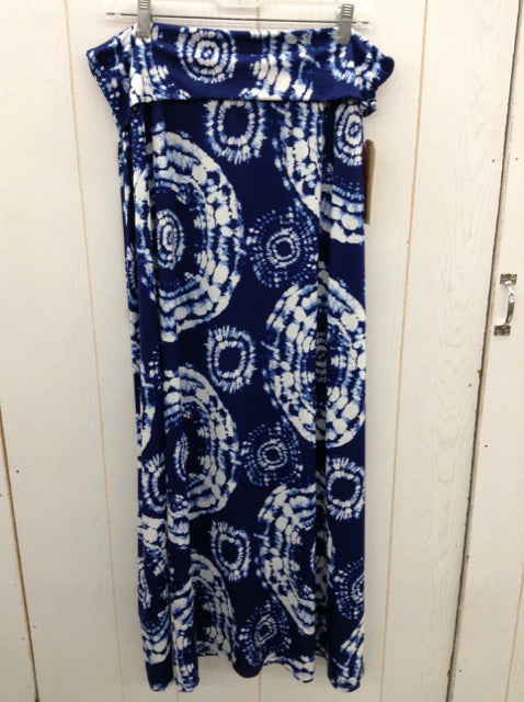 Womens Blue Print Maxi Skirt - Plus 2X