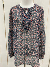 Load image into Gallery viewer, LOFT Navy Floral Blouse - Womens Sz Small