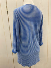 Load image into Gallery viewer, Small Wms 3/4 Slv Blue Stripe Shirt