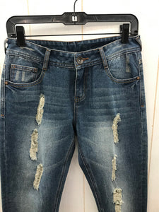 Distressed Crop Blue Womens Jeans - Sz 4
