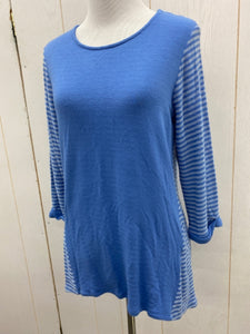 Small Wms 3/4 Slv Blue Stripe Shirt