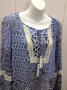 August Silk Blue Women Size M Blouse