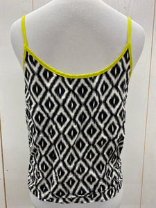 Juniors Black White Crop Tank Top - Sz Large