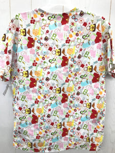 Peaches White Womens Scrub Top - Medium