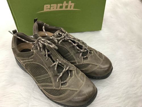 EARTH Shoes Womens 11 Taupe Gray Lace Up Casual Sneakers Redroot Nubuck