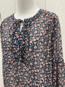 LOFT Navy Floral Blouse - Womens Sz Small