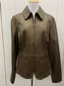 Apt 9 Copper Brown Womens Leather Jacket Sz Medium
