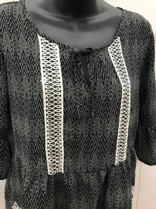 Maurices Black Print Blouse Sz Small