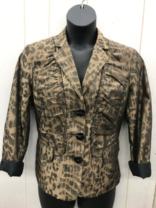 Chico's Tan Print Womens Blazer - Sz Large