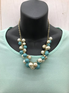 Blue & Pearl Necklace