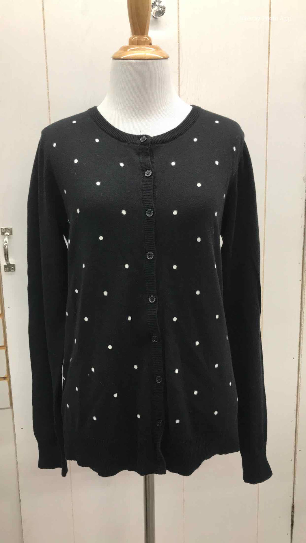 Med Wms Black/White Dot Cardigan