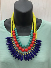 Load image into Gallery viewer, Statement Blue Yellow Necklace