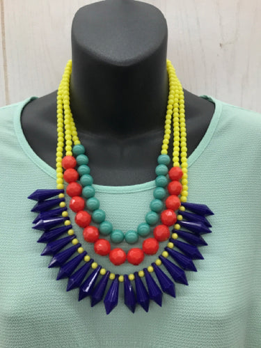 Statement Blue Yellow Necklace