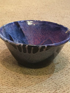 Glazed Purple Swirl Pottery Bowl