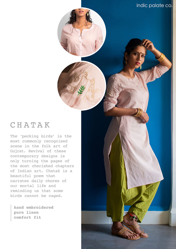 Pink Embroidered Linen Kurta