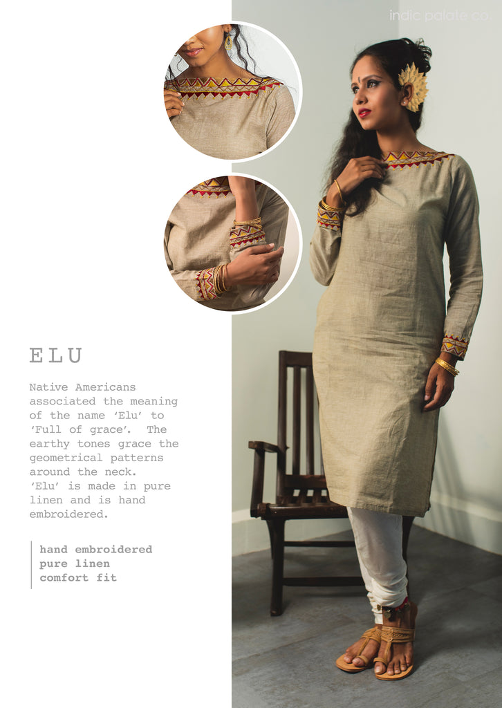 Embroidered Linen Grey Kurti