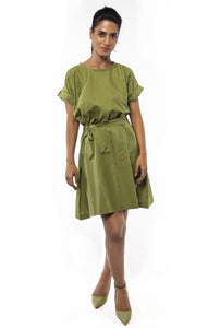 Theodora Green Drop Shoulder Dress
