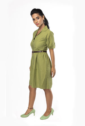 Bessei Green Shirt Dress