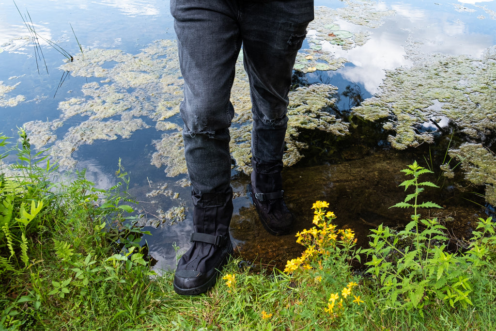 wearing NEOS overshoes in water