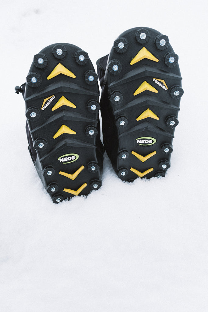NEOS Overshoes stabilicers cleats in the snow