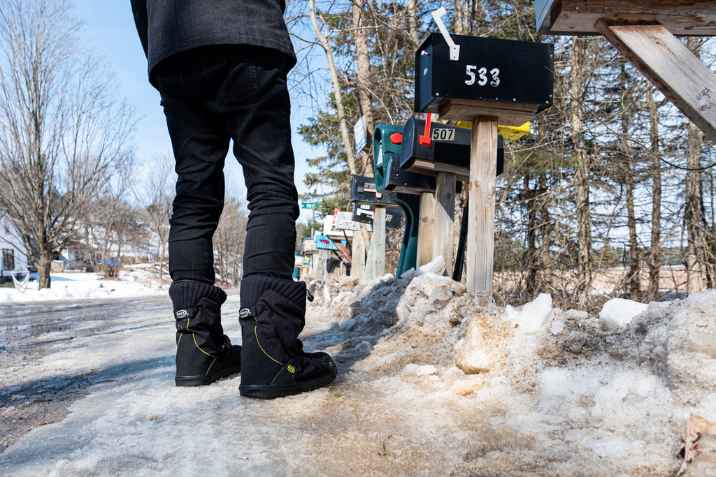 pick up the mail in winter mailbox NEOS overshoes
