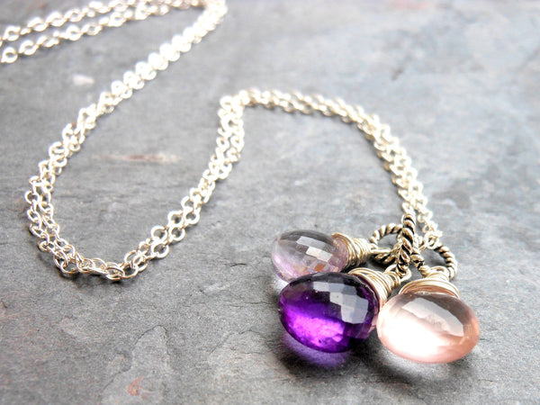 Amethyst Necklace Trio Brio Pendant Necklace Silver