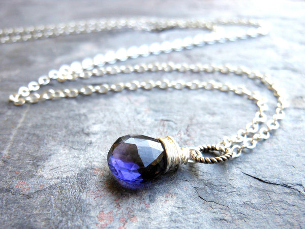 Handmade Iolite Necklace Sterling Silver Simple Briolette Pendant Necklace Blue