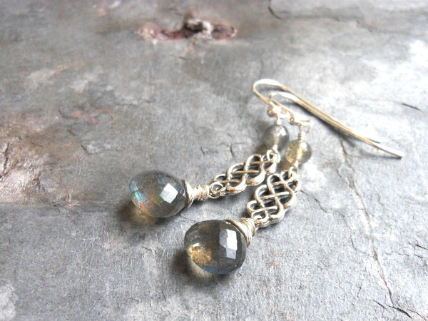 Celtic Labradorite Earrings Sterling Silver Dangle Grey Gemstones by Aerides